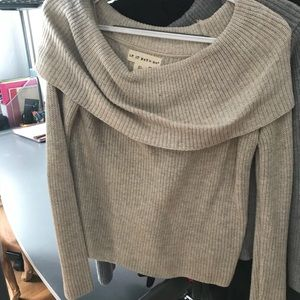 Sweaters - Beige off the shoulder sweater